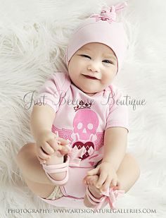 Pink Skull Baby Onesie