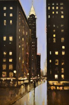"Geoffrey Johnson, ""Chrysler Building- Blue"" - 18x12, oil on board - at Principle Gallery"