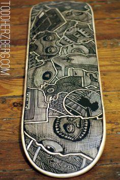 Hand Carved Skateboard Made by hand Carved art.. Skate art Life style design.. http://stores.ebay.com/urban-art-designs