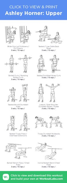 Ashley Horner: Upper – illustrated exercise plan created at WorkoutLabs.com/Fit • Click for a printable PDF and to build your own #customworkout