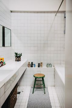 My Modern House: editor and writer Tom Morris' Brutalist flat on the Barbican Estate Barbican, White Tiles, Brutalist, White Bathroom, Deco, Editor, Modern, Journal, London