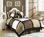 "7 Pieces Black, Brown, and White Micro Suede Patchwork Comforter Size 90""x92"" Bedding Set / Bed-in-a-bag Queen Size"
