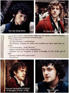 Enjolras and Grantaire - Les Miserables. Theatre Geek, Musical Theatre, Theater, Theatre Quotes, Les Miserables Quotes, Enjolras Grantaire, Aaron Tveit, Beyonce, French Revolution