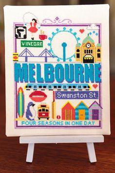 Melbourne Cross Stitch Pattern  Australia  by fiddlesticksau