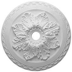 "Ekena Bordeaux 23-5/8"" OD Primed Urethane Deluxe Ceiling Medallion with 3"" ID"