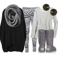 Love this comfy winter outfit! Wouldn't wear the sweater leggings.but maybe just leggings & for hanging around the house.or running errands. Looks Street Style, Looks Style, Looks Cool, Beauty And Fashion, Look Fashion, Passion For Fashion, Fall Fashion, Cheap Fashion, Fashion 2016