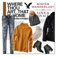"""Winter Wanderlust with American Eagle: Contest Entry"" by that-chic-girl ❤ liked on Polyvore featuring Yves Saint Laurent, American Eagle Outfitters, Paul Andrew, contestentry, aeostyle and winterwanderlust"
