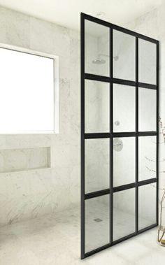 """井 GRIDSCAPE™ Series [Patent Pending] Fixed Panel """"Window Pane"""" Shower Partition (no door) by Coastal Shower Doors. www.coastalind.com"""