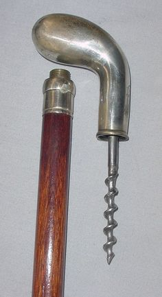 Antq Silver Mahogany Walking Stick Corkscrew   eBay