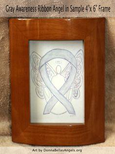 Brain Cancer Gray Awareness Ribbon Guardian Angel Art by AwarenessGallery