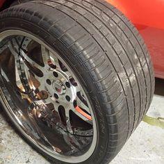 68 camaro asanti af116 wheels 6 spoke red chrome  20x13 345/25/20