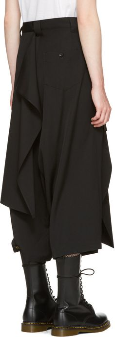 Wide-leg wrinkled wool gabardine trousers in black. Integrated panel featuring cinch-strap fastening at body. Two-pocket styling. Dark Fashion, Minimal Fashion, Yoji Yamamoto, Japanese Fashion, Fashion Pants, Casual Outfits, Women Wear, Fashion Design, Fashion Trends