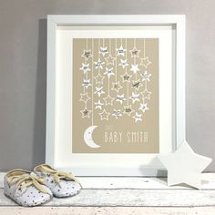 Moon Stars Personalised Baby Shower Guest Book Print - Are you interested in our Baby Shower Guest Book? With our Moon Stars Baby Shower you need look no - Baby Shower Niño, Baby Boy Shower, Baby Shower Gifts, Shower Cake, Shower Favors, Moon Stars, Babyshower Party, Boy Christening, Christening Guest Book Ideas