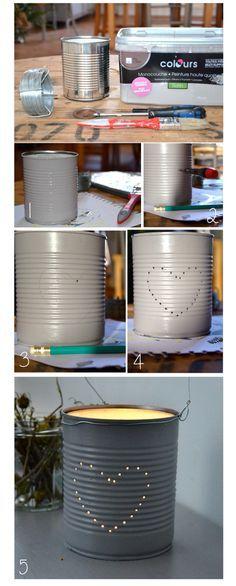 Quand une boîte de conserve se transforme en adorable lanterne... :) Comment organiser votre mariage sur http://yesidomariage.com