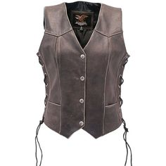 Jamin' Leather Vintage Brown Leather Vest for Women with Side Lacing ($80) ❤ liked on Polyvore featuring outerwear, vests, lace up leather vest, genuine leather vest, brown vest, leather vest and brown waistcoat