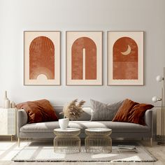 Living Room Inspo, Wall Printables, Wall Art Living Room, Living Room Orange, Mid Century Wall Art, Living Room Decor, Burnt Orange Living Room, Room Decor, Room Ideas Bedroom