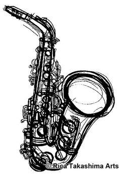 05da97581 Saxophone artwork. #blackandwhite #sketch #artwork http://www.pinterest