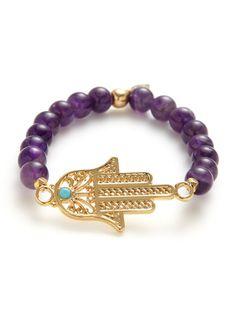 Amethyst & Gold Hamsa Stretch Bracelet by Ettika Jewelry on Gilt.com