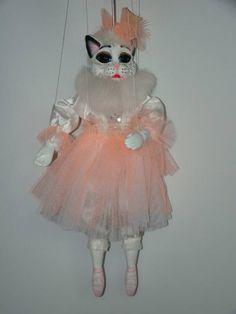 Cat ballerina, marionette puppet