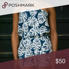 Banana Republic Navy Blue Leaf Print Summer Romper Size small..and fits true to size. Soft clean material. This romper is in great condition and has amazing prints. romper has a little stretch to it making it comfortable and easy to fit. can wear this lovely romper with heels flats or your favorite pair of shoes. This romper looks even better with a nice pair of loafers! Banana Republic Pants Jumpsuits & Rompers