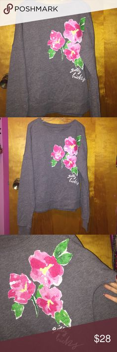 Floral Gilly Hicks sweater Gray Gilly Hicks sweater •loose fitting •comfortable •super cute •like new condition •worn twice ❣️willing to trade for VS sweater -higher trade value Hollister Sweaters Crew & Scoop Necks
