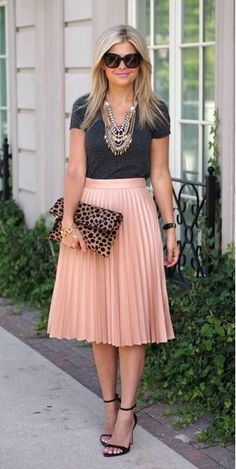 Love skirt + tee + sandals, but would go with different jewelry and clutch (maybe thin stacking rings)