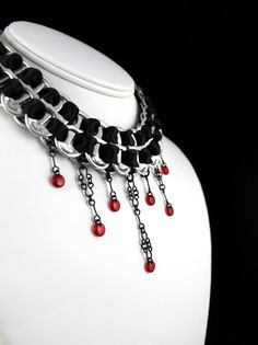 Recycled Pop Tab Necklace, Black Satin Ribbon & Long Chandeliers with Blood Red Drops - Goth, Vampire, Choker, Statement, Bib Necklace