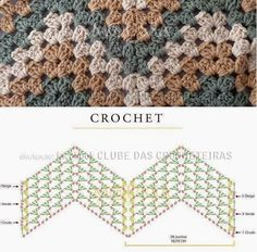 This is an awesome zig zag pattern to crochet. You can do this pattern with a treble crochet, a double crochet, or a half-double crochet. Crochet Stitches Free, Crochet Motifs, Crochet Diagram, Crochet Chart, Crochet Blanket Patterns, Love Crochet, Diy Crochet, Crochet Blankets, Afghan Patterns