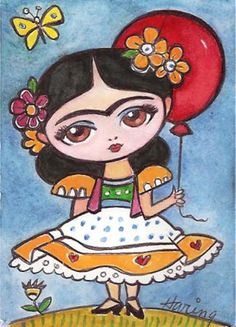 Frida Kahlo and Red Balloon - Original Print from my Painting Girls room art childrens art. via Etsy. Red Balloon, Balloons, Illustrations, Illustration Art, Girls Room Paint, Frida And Diego, Frida Art, Art Drawings For Kids, Diego Rivera