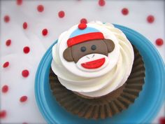 fondant sock monkey cupcake topper
