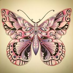 johanna basford ivy and the inky butterfly coloured pages Butterfly Drawing, Butterfly Wallpaper, Mehndi, Henna, Coloring Books, Coloring Pages, Colouring, Magical Jungle Johanna Basford, Johanna Basford Coloring Book
