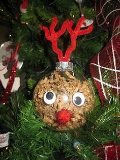 DIY Rudolph Ornament. Easy For The Kids To Make. I Would Have Brown Antlers Instead Of Red.