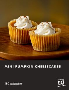 These cheesecakes feature a creamy pumpkin filling on top of a walnut crust. A delightfully easy thanksgiving dessert recipe that is perfect for fall. Pumpkin Cheesecake, Cheesecake Recipes, Dessert Recipes, Desserts, Thanksgiving Recipes, Holiday Recipes, Thanksgiving Holiday, Christmas, Low Carb Side Dishes