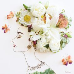 """Print of original flower creation by Vicki Rawlins, """"Breakfast at Tiffany's"""" is originally made from fresh flower, dried foliage, and foraged twigs! No glue, no tape, just mother nature balancing deli"""