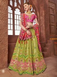 Pack Of 7 Piece JacquardWedding Wear Lehenga Choli Green Lehenga, Silk Lehenga, Sari, Peach Colors, Wedding Wear, Indian Outfits, Indian Fashion, Party Wear, Style Icons