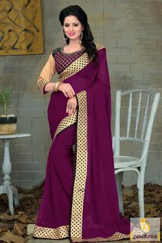 Gorgeous embroidery worked magenta georgette diwali festival embroidery saree online with special discount deal 2015-2016. Shop beautiful lace border worked Diwali and New Year special saree with COD. #sarees, #Diwalisarees, #embroiderysarees, #weddingwearsaree, #partywearsaree, #newyearsareecollection, #2016, #pavitraafashion More : http://www.pavitraa.in/store/diwali-sarees-collection/ Call / WhatsApp : +91-76982-34040  E-mail: info@pavitraa.in