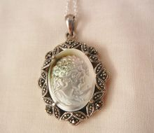 can't miss todays arrivals  Gorgeous sterling shell cameo marcasite Necklace