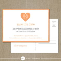 Holding Hands Modern Personalized Wedding Save the Date Postcard - CUSTOMIZE Colors and Content - Digital Design File via Etsy