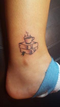 Books and Coffee tattoo