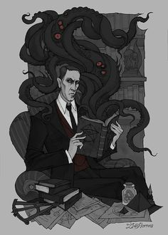 My tribute to H.P. Lovecraft on his deathday, March 15th, 1937. This genious creator was able to curb the power of the cosmic nightmare and create not only a new direction in the horror genre, but also his own unique mythology. His works also had a strong influence on me and my art #Lovecraft #HPLovecraft #gothic #macabre #illustration #literature #scifi #scifiart #horror #horrorart #cthulhu #irenhorrors