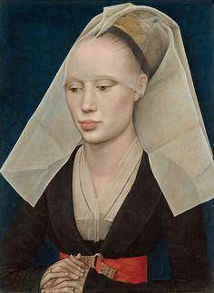 Pintura con veladuras (óleo sobre tabla). Retrato de dama de Van der Weyden (1455)