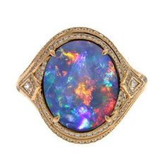 Kat Florence Black Opal Ring - A universe of colors just in one stone!