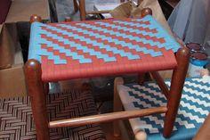 Herringbone in rust and teal Vanity Bench, Herringbone, Rust, Weaving, Teal, Patterns, Chair, Home Decor, Block Prints