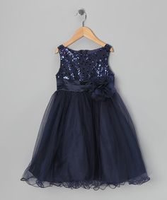 Look at this #zulilyfind! Navy Sequin Tulle A-Line Dress - Toddler & Girls #zulilyfinds