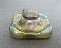 Antique Art Nouveau Loetz/Kralik Iridescent Glass Inkwell w/ Pen Rest