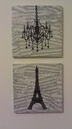 Each canvas started as $2 artwork from Family Dollar, and I Mod Podged over them with vintage sheet music printed from the internet (Google search) and drew on them with a Sharpie. For the chandelier, I started with a stencil bought at Walmart and added embellishments. For the Eiffel tower, I cut out a photo and traced the shape, then freehanded the details. [Update: I added bows to hang them from, made with wide black ribbon--much cuter that way!]