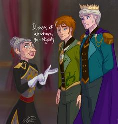 Genderbent Frozen!   Art: juliajm15- I actually  like this lady better than the Duke of Weselton/Weaseltown! I think it would've been cool to see this!