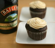 Chocolate Guinness Cupcakes with Bailey's Cream Cheese Frosting.