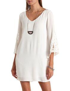 Crochet Applique Bell Sleeve Shift Dress: Charlotte Russe