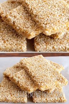 Recipes Snacks Bars Sesame Crunch Bars (vegan, gluten free) - This sesame brittle recipe is a healthy grain free snack. Made with maple syrup. Healthy Snack Bars, Healthy Sweets, Easy Snacks, Vegan Protein Snacks, Dinner Healthy, Sesame Brittle Recipe, Brittle Recipes, Sesame Seed Bars Recipe, Sesame Sticks Recipe